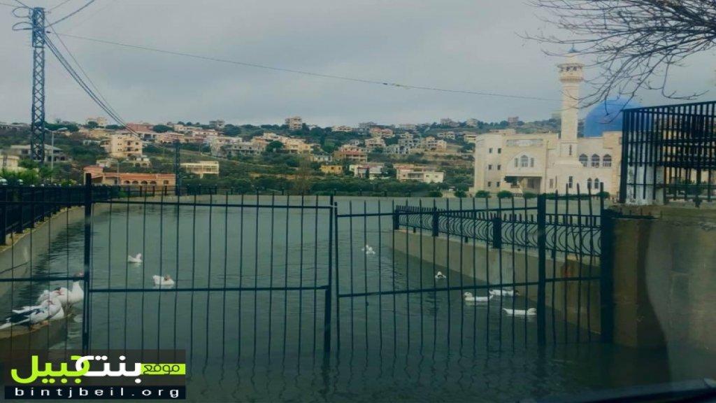 """بالصور/ لأول مرة منذ سنوات...""""المياه لامست البوابة""""...بركة بنت جبيل تفيض في بداية الموسم"""