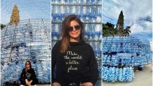 """""""جمعوها وما تكبوها""""...الشابة """"كارولين"""" وفي مبادرة بيئية لافتة تبني شجرة ميلاد ضخمة من قناني المياه البلاستيكية في شكا"""