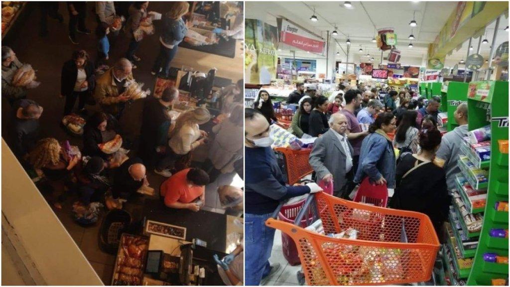 بالفيديو/ زحمة على شراء المواد الغذائية في عدد من السوبرماركت