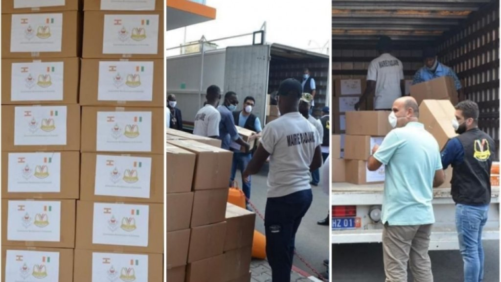 بالصور/ جمعية البر والتعاون في ساحل العاج قدمت حصص تموينية في منطقة أدجمي وبعض الاحياء لمواطنين عاجيين