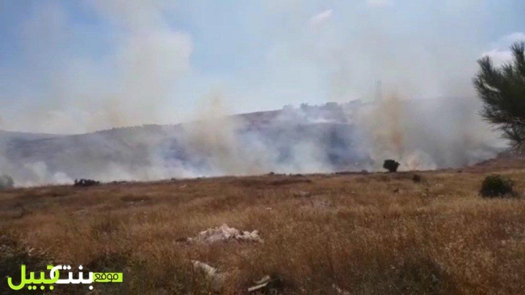 """بالفيديو/ حريق كبير في محلة """"خلة المشتى"""" في بنت جبيل"""