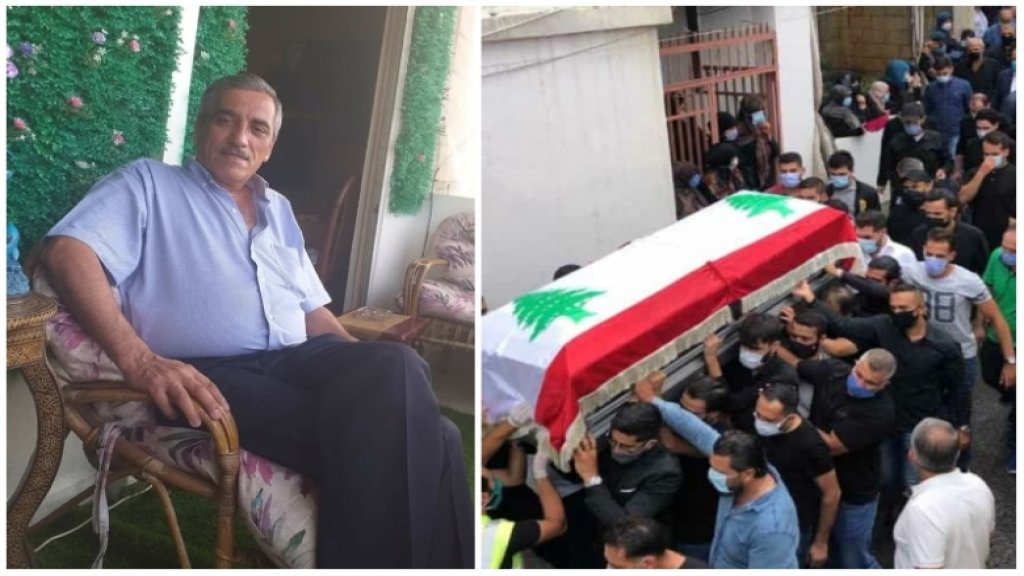 تشييع الشهيد شوقي علوش بعد العثور على جثته امس في مرفأ بيروت حيث كان يعمل في اهراءات القمح