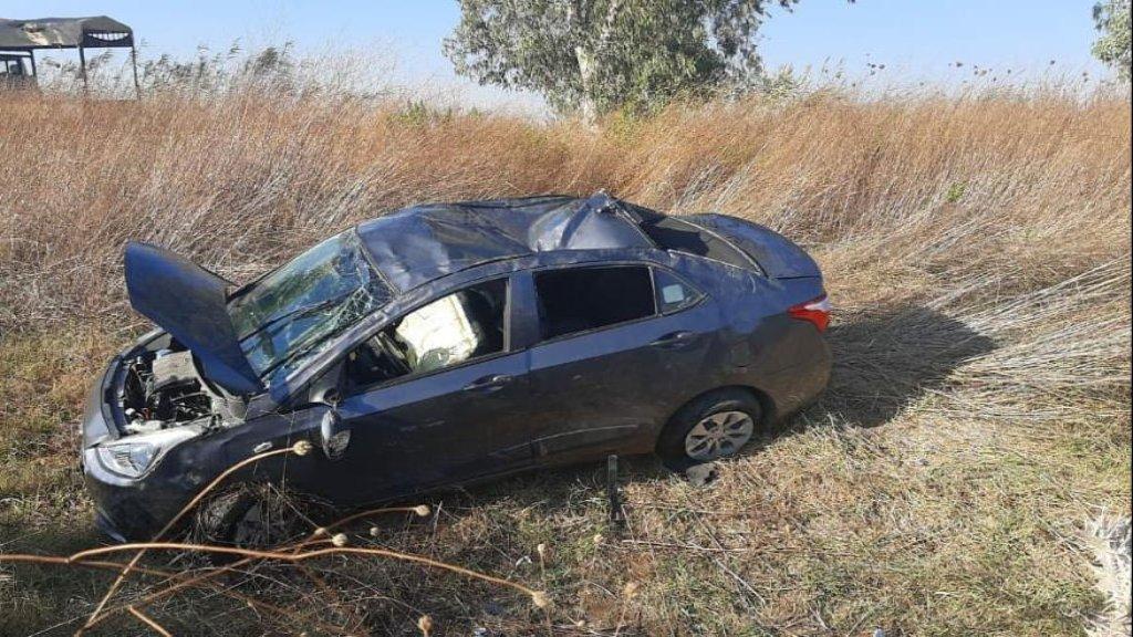 6 جرحى في تدهور سيارة على طريق عام سهل مرجعيون وسقوطها في الحقل