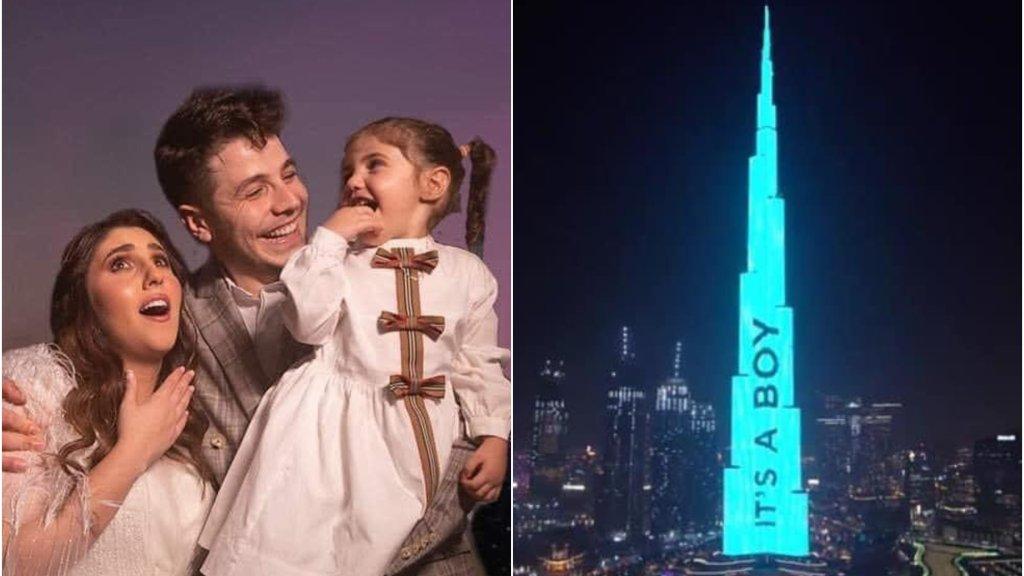 بالفيديو/ أضخم حفل في العالم للكشف عن جنس الجنين أقامه زوجان عبر برج خليفة!