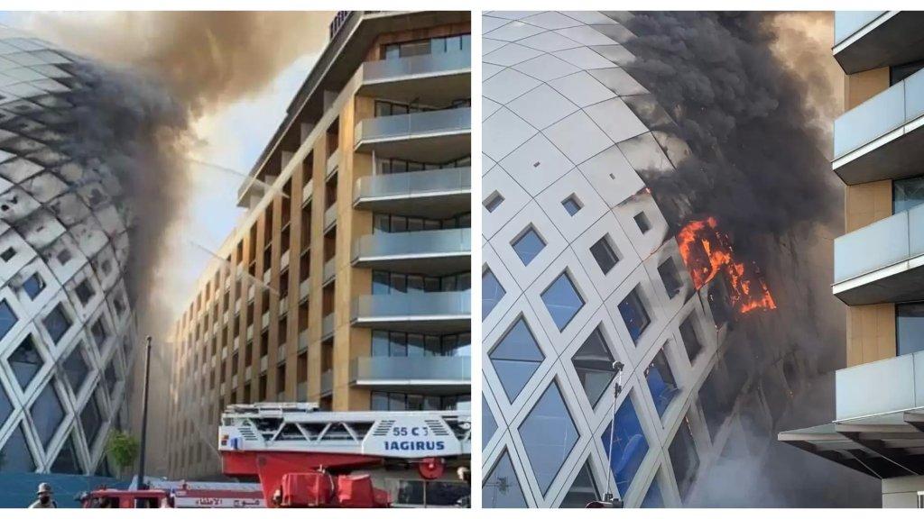 الحريق في المجمع التجاري تسبب بأضرار مادية جسيمة وتمّ منع السير في المنطقة كليًّا