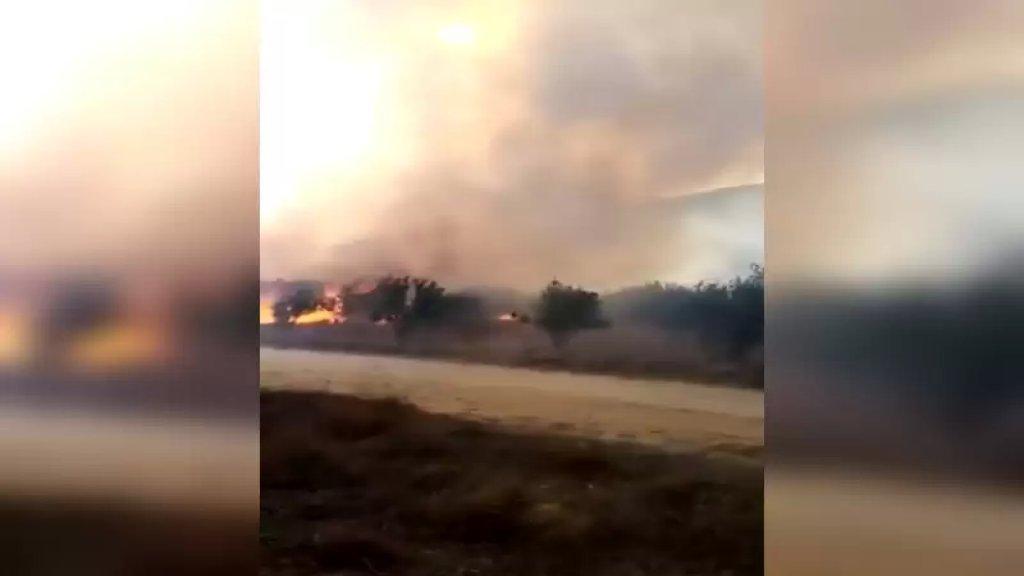 بالفيديو/ حريق كبير في مرج بسري