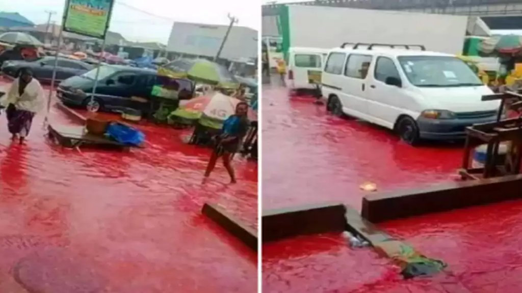 """بعد تداول صور """"المطر الدموي"""" في نيجيريا...تبين أن الخبر كاذب والمياه انصبغت بالأحمر بعد سقوطها على الأرض!"""