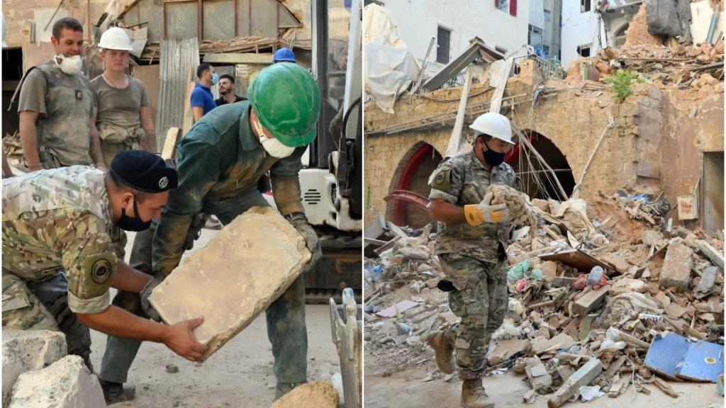 بالصور/ الجيش يرفع احجار مبنى اثري يقع في منطقة مار مخايل من بين الانقاض جراء انفجار مرفأ بيروت