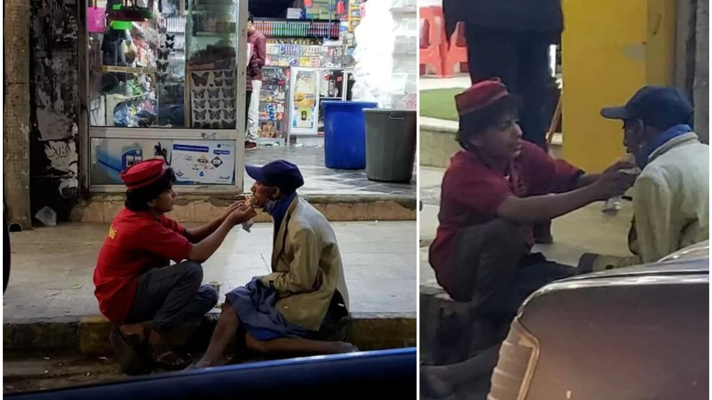 إضطرته الظروف الصعبة للعمل بعمر الـ 14 عاماً لكن قلبه الطيب لم يتوان عن إنفاق الطعام يومياً على مسكين من ذوي الإحتياجات الخاصة أمام عمله منذ شهر في اليمن