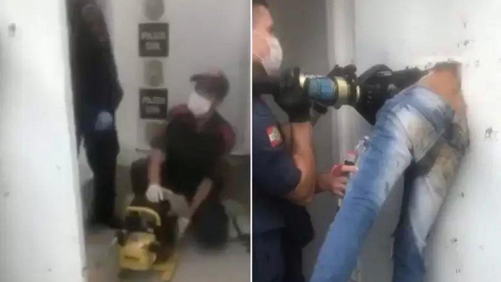 بالفيديو/ محاولة هروب فاشلة… سجين يعلق في حفرة حائط زنزانة داخل مركز شرطة في بلدة برازيلية