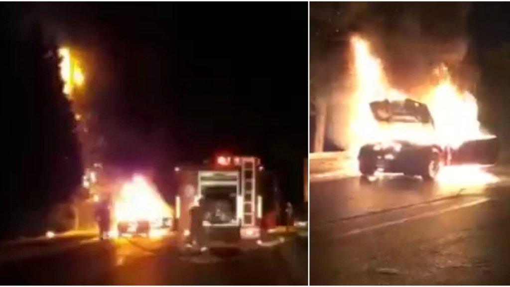 بالفيديو/ احتراق سيارة في جبيل والنيران إمتدت إلى الأشجار المجاورة.. الدفاع المدني عمل على إخمادها