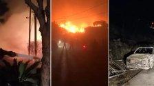 بالصور والفيديو/ العناية الإلهية أنقذت بلدة بنتاعل من كارثة حريق كبير امتد ليلاً على مساحة شاسعة وألسنة النيران لامست المنازل