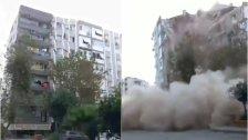 بالفيديو/  لحظة إنهيار أحد المباني جراء الزلزال القوي الذي ضرب ولاية إزمير التركية