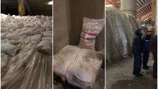 بالصور/ آلاف الأطنان من الطحين المرسلة من دولة العراق مخزّنة بشكل سيئ في مستودعات المدينة الرياضية