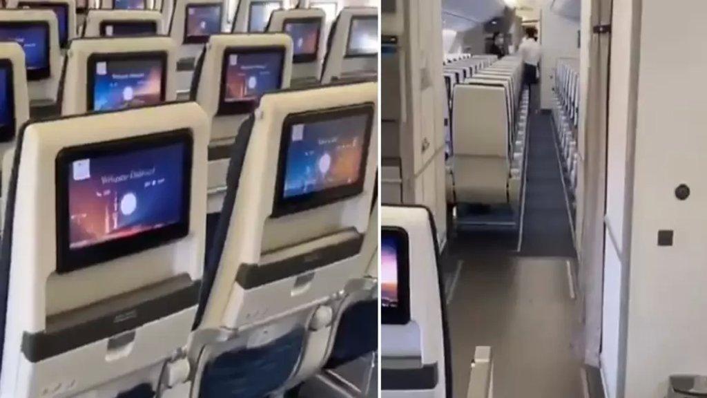 """فيديو لمواطن كويتي عاد من لبنان """"وحيداً"""" على متن الطائرة بسبب كورونا!"""