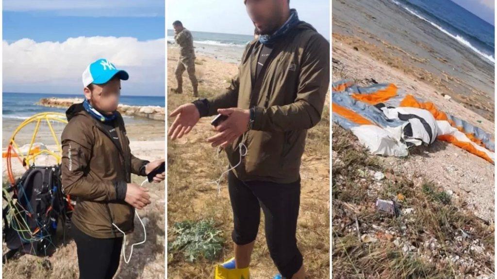 بالصور/ رجل تركي يهبط بالمظلة عند شاطئ عدلون ومخابرات الجيش تحقق معه!
