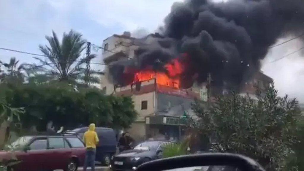 فيديو متداول لحريق إندلع في احد المحلات في الأوزاعي