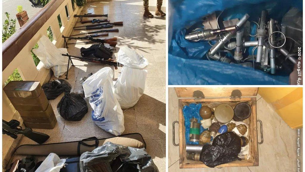 بالصور/ الجيش يداهم محلاً لبيع البرادي واللوحات الفنية في طرابلس ويعثر بداخله على مخزن يحتوي كمية كبيرة من الأسلحة الحربية والذخائر المختلفة والقنابل اليدوية والمتفجرات