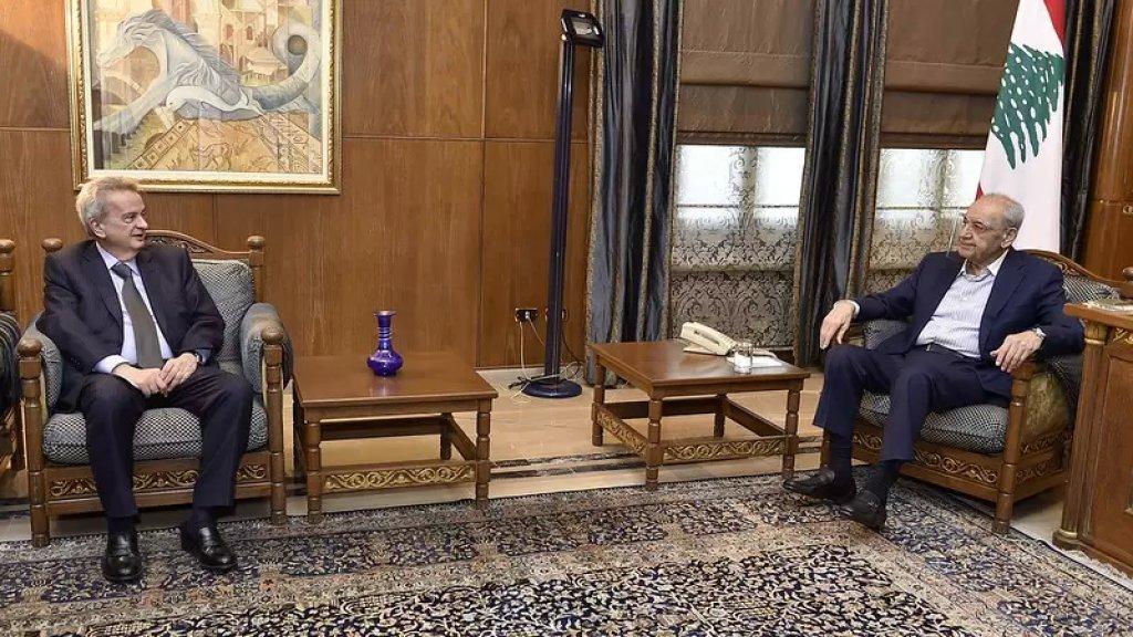 الرئيس بري عرض مع حاكم مصرف لبنان رياض سلامة الأوضاع المالية وشدد على ضرورة تطبيق القوانين المتعلقة بالإصلاح والتدقيق المالي ومكافحة الفساد وهدر المال العام