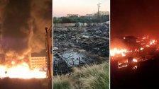 بالفيديو/ هكذا بدا مخيم المنية بعد إضرام النيران فيه ليلاً.. الخيم أحرقت بالكامل!
