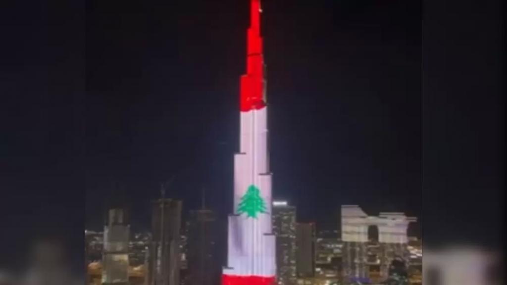 بالفيديو/ دبي خصّصت تحيّة للبنان أثناء الإحتفال بالعام الجديد أمس عبر إضاءة برج خليفة بألوان العلم اللبناني