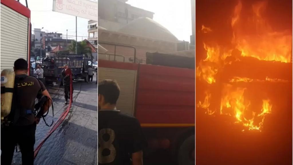 بالصور/ إخماد حريق داخل مسجد في الغازية