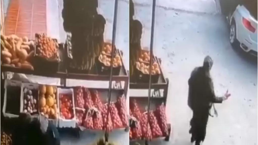 """قريب السيدة يوضح لموقع بنت جبيل حقيقة الفيديو المنتشر لـ""""سرقة كيس بصل في بلدة طور"""": السيدة  قريبة صاحب الدكان وأخذت الكيس لأن المحل كان مقفلاً واتصلت به لإعلامه"""