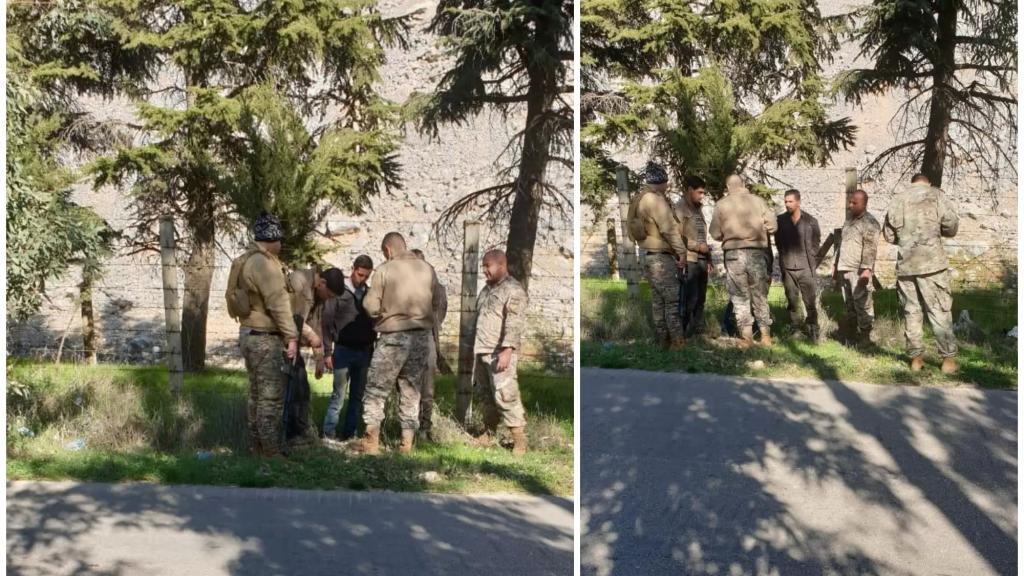 الجيش يوقف مجموعة من العمال السوريين خلال محاولتهم سرقة الحديد من بعض الانشاءات الخرسانية القديمة في محيط سد القرعون عند النفق العلوي للسد