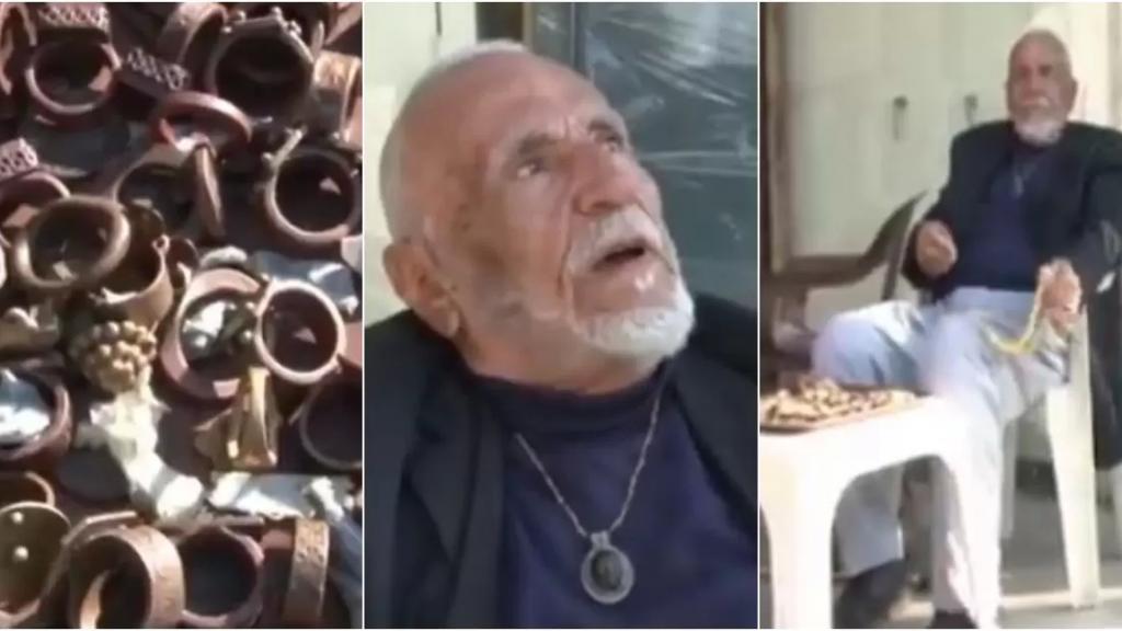 """بالفيديو/ يتعدى عمره الـ 100 عام.. """"أبو رأفت"""" يفترش الرصيف ليبيع أنتيكا التي يمتلكها منذ عشرات السنين والسبب الوضع الإقتصادي  """"بدنا نبيع طفرانين"""""""