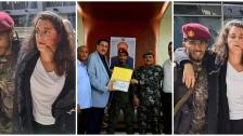 تكريم الجندي الذي أسعف المتحدثة بإسم اللجنة الدولية للصليب الأحمر اللبنانية يارا خواجة عقب إصابتها في تفجير مطار عدن