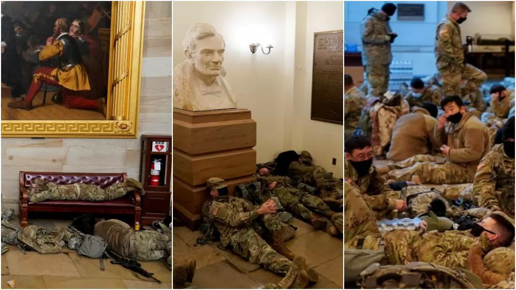 20 ألف عنصر من الحرس الوطني الأميركي في واشنطن.. صور غير مسبوقة للجنود داخل الكونغرس: افترشوا الأرض للنوم!