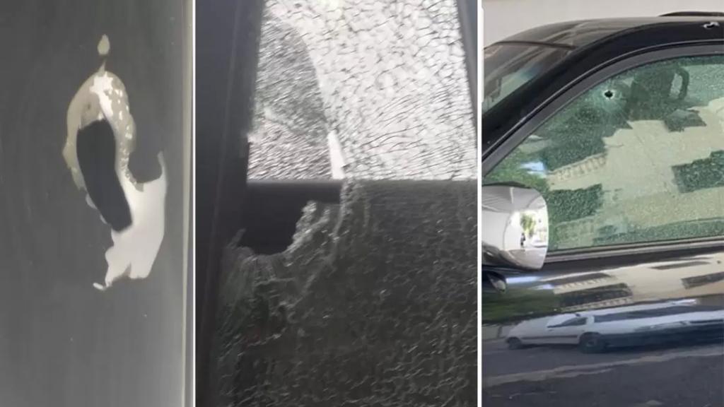 بالصور/ من مظاهر التفلت الأمني.. أطلقوا النار على سيارة مواطن مركونة في منطقة الحوش - صور بعد منتصف الليل وفروا!