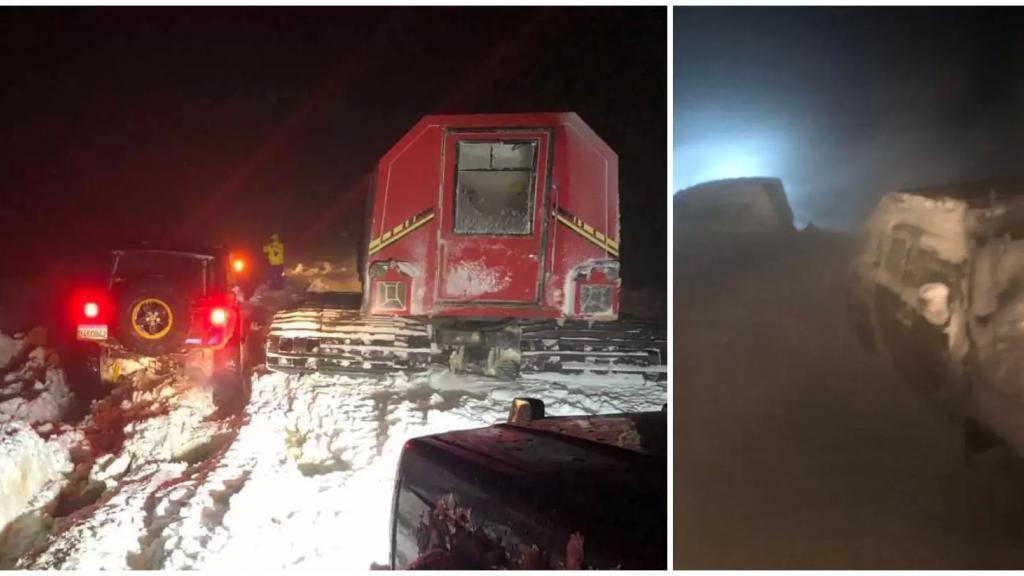 بالصور/ عناصر الدفاع المدني عملوا لـ 12 ساعة متواصلة لإنقاذ مواطنين حاصرتهم العاصفة الثلجية في أعالي جبال صنين