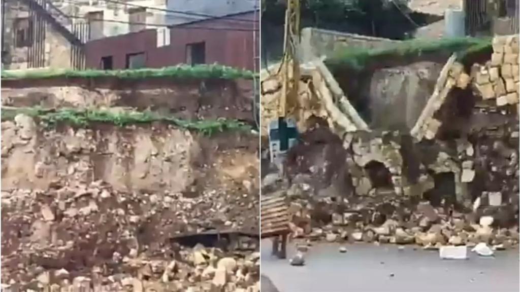 بالفيديو/ لحظة انهيار حائط بالكامل في ذوق مصبح جراء العاصفة!