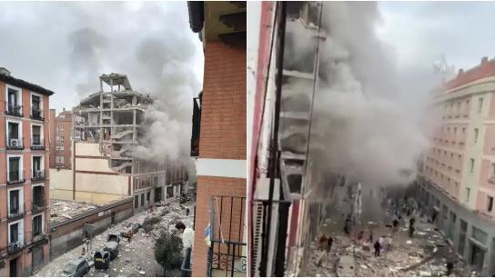 بالفيديو/ المشاهد الأولية لإنفجار مدريد في إسبانيا