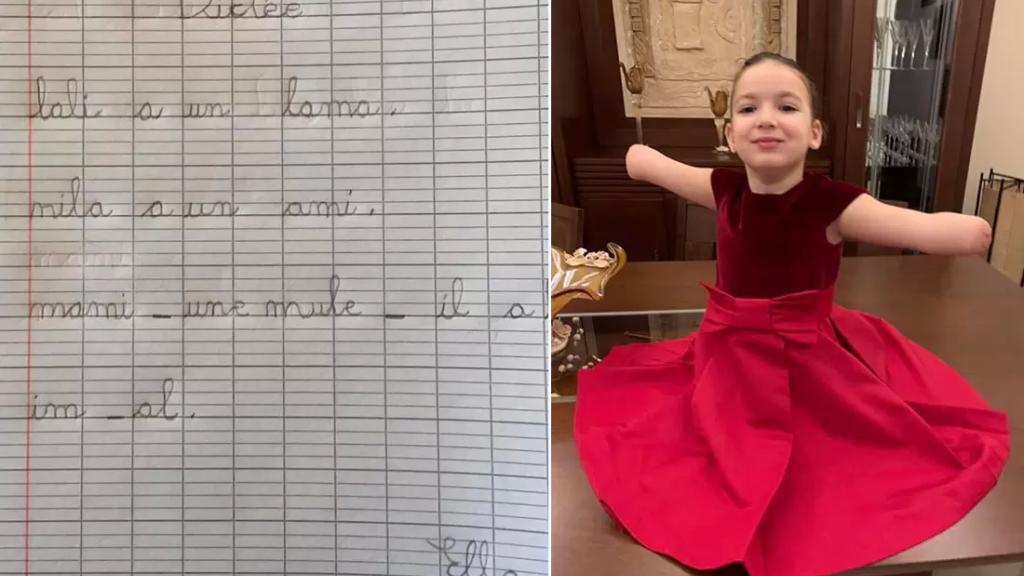 متفوقة على خسارتها لأطرافها الأربعة نتيجة خطأ طبي، الصغيرة ايللا طنوس تكتب ببراعة وبخط متقن