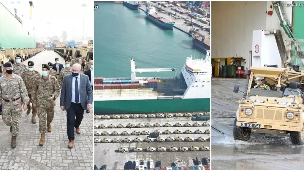 بالصور/ الجيش اللبناني تسلم في مرفأ بيروت 100 آلية نقل مصفحة هبة من بريطانيا