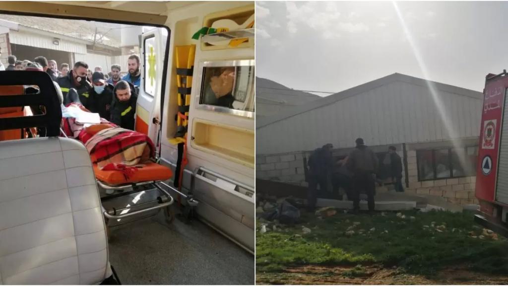 بالصور/ انهيار احد جدران مستودع في الدكوة البقاعية وانتشال عامل سوري جثة من تحت الركام