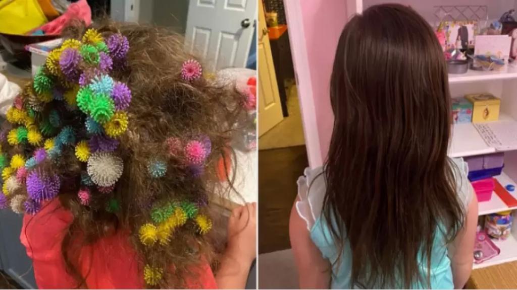 عاشت أسوأ كابوس قد يحدث لأي أم....أمريكية أمضت 20 ساعة في تخليص شعر ابنتها من 150 قطعة ألعاب!