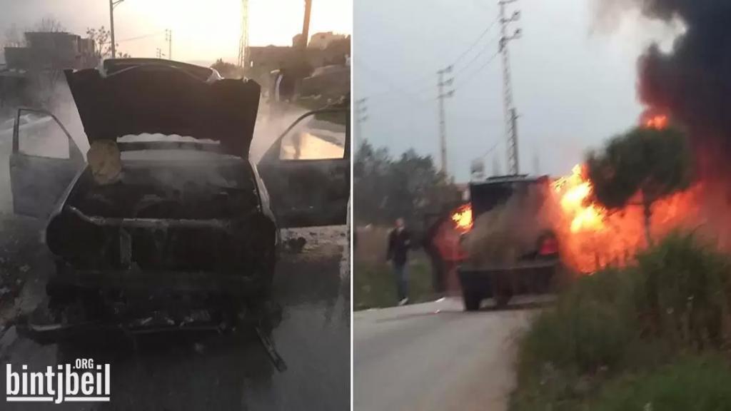 نجاة عائلة من بنت جبيل بعد اشتعال النيران في سيارتهم وانفجارها فجأة بسبب احتكاك كهربائي