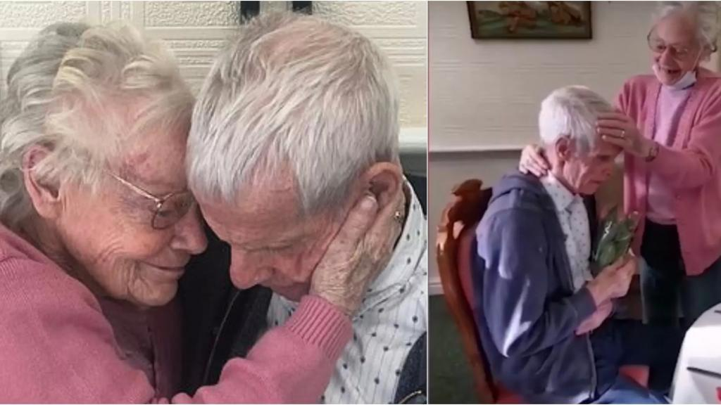 بالفيديو/ لقاء مؤثر بين زوجين إفترقا بسبب كورونا..حب وزواج لـ60 عاماً والزوجة أمضت عاماً كاملاً في إنتظاره!