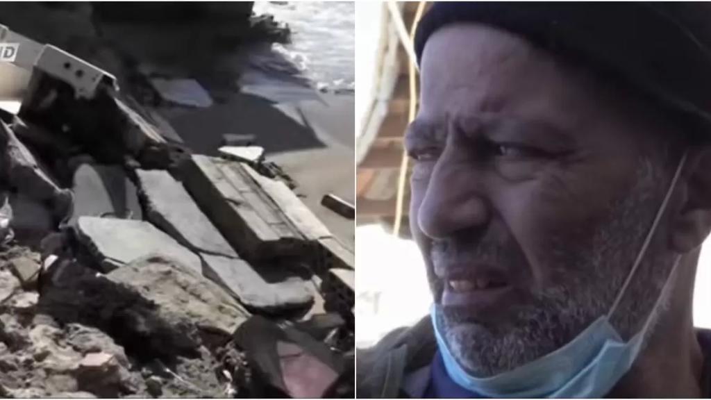 """بالفيديو/ بعدما فقد قدمه إثر انفجار بيروت.. الصياد احمد يونس الاب لـ6 خسر جزء من منزله جراء """"غضب البحر"""": """"نحنا تبهدلنا"""""""