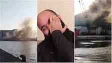 """بالفيديو/ """"محمود دعيبس"""" يروي اللحظات المؤلمة لاستشهاد رفاقه الـ10 في مرفأ بيروت..  ومشاهد تعرض للمرة الأولى قبل دقائق من الإنفجار!"""
