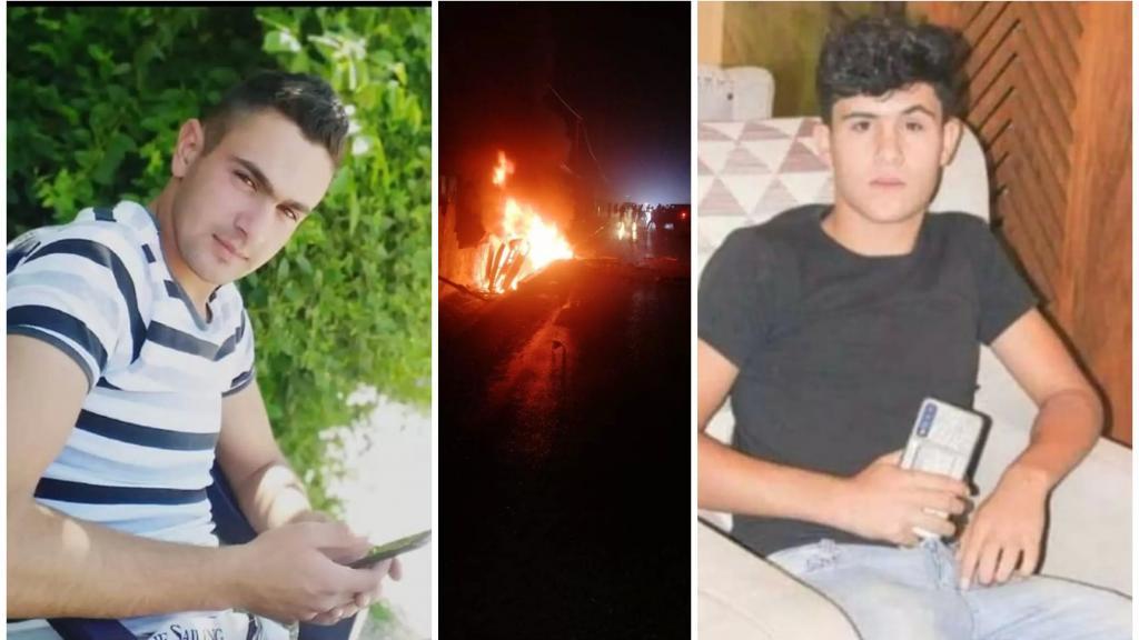 الشابان محمد بدر وعمر جمعة ضحيتا حادث دير زنون المروع الذي وقع ليلاً