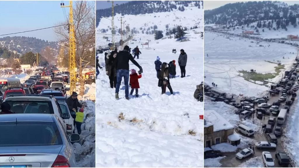 """بالصور/ رغم التعبئة العامة.. زحمة متنزّهين و""""قعدة نرجيلة"""" على الثلج ونزهة إلى الكورنيش!"""