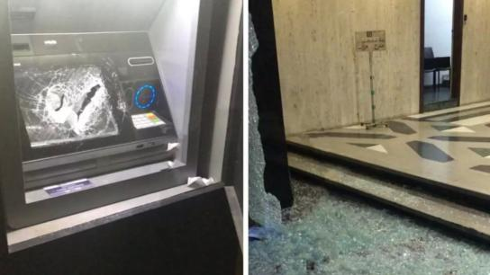 بالفيديو/ تكسير زجاج احد المصارف في منطقة الحمرا