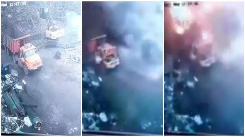 بالفيديو/ لحظة وقوع الانفجار في بورة لتجميع الحديد المستعمل في منطقة السقي في باب التبانة والذي أودى بحياة شخص