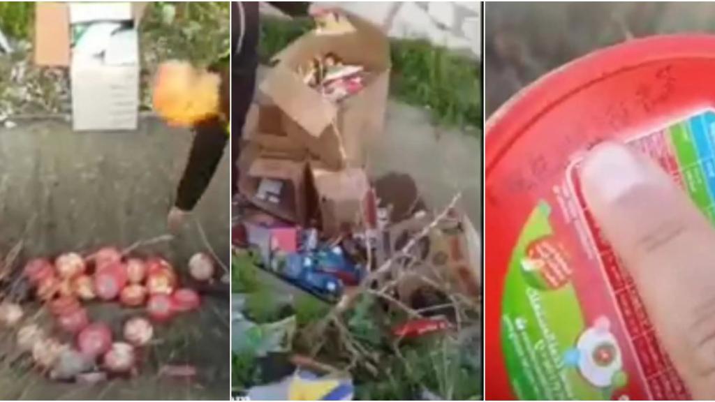 بالفيديو / العثور على مواد غذائية منتهية الصلاحية مرمية إلى جانب الطريق عند اوتوستراد الزهراني