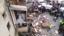 سقوط شرفة مبنى في الحوش صور والأضرار مادية