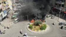 بالفيديو/ محتجون يقطعون الطريق في موقف حي السلم بالاطارات المشتعلة